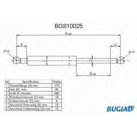 BUGIAD Gasfeder, Koffer-/Laderaum BGS10025 für AUDI 90 (89, 89Q, 8A, B3) 2.2 E quattro ab Baujahr 04.1987, 136 PS