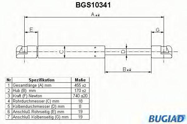BUGIAD  BGS10341 Heckklappendämpfer / Gasfeder