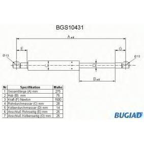 BUGIAD Ammortizatore pneumatico, Cofano bagagli / vano carico BGS10431 con OEM Numero 9485548
