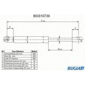 Kofferraum VW PASSAT Variant (3B6) 1.9 TDI 130 PS ab 11.2000 BUGIAD Gasfeder, Koffer-/Laderaum (BGS10739) für