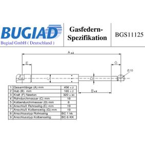Heckklappendämpfer / Gasfeder mit OEM-Nummer 50515442