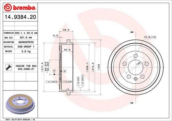 Article № 14.9384.20 BREMBO prices
