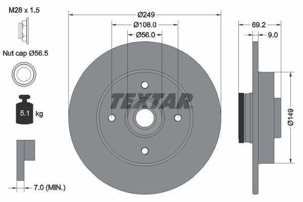 TEXTAR PRO 92202103 Disco de freno Espesor disco freno: 9mm, Ø: 249mm