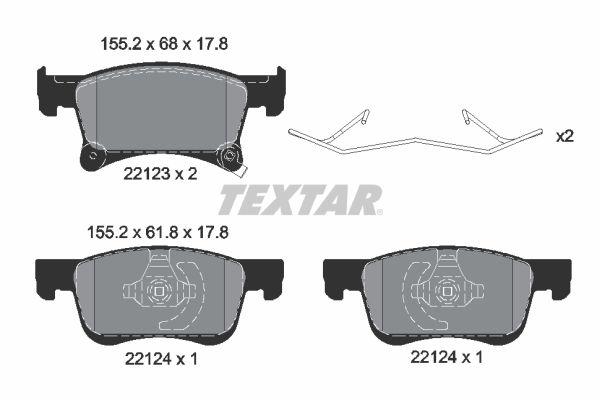TEXTAR  2212301 Bremsbelagsatz, Scheibenbremse Breite: 155,2mm, Höhe 1: 68mm, Höhe 2: 61,8mm, Dicke/Stärke: 17,8mm