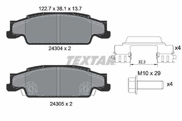 TEXTAR  2430402 Bremsbelagsatz, Scheibenbremse Breite: 122,7mm, Höhe: 38,1mm, Dicke/Stärke: 13,7mm