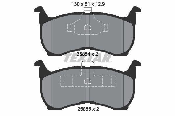 TEXTAR  2585401 Bremsbelagsatz, Scheibenbremse Breite: 130mm, Höhe: 61mm, Dicke/Stärke: 12,9mm