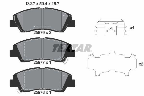 TEXTAR  2597601 Bremsbelagsatz, Scheibenbremse Breite: 132,7mm, Höhe: 50,4mm, Dicke/Stärke: 16,7mm