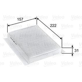 Filter, Innenraumluft Länge: 157mm, Breite: 222mm, Höhe: 31mm mit OEM-Nummer 71 775 824