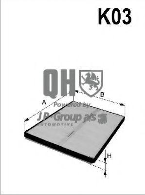 JP GROUP  1128100909 Filter, Innenraumluft Länge: 252mm, Breite: 216mm, Höhe: 32mm