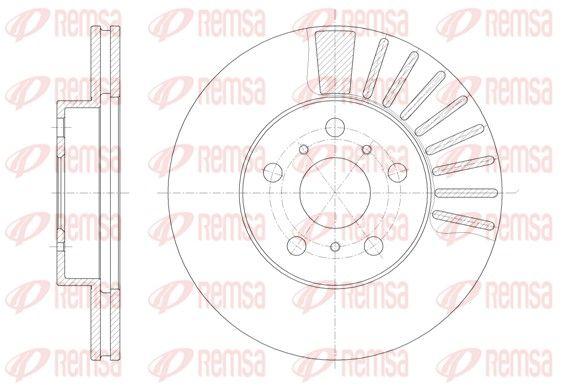 REMSA  6170.10 Bremsscheibe Bremsscheibendicke: 22mm, Lochanzahl: 5, Ø: 255mm, Ø: 255mm