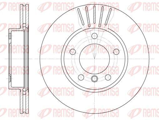 REMSA  6324.10 Bremsscheibe Bremsscheibendicke: 22mm, Lochanzahl: 5, Ø: 286mm, Ø: 286mm