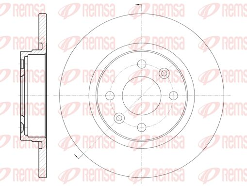 REMSA  6809.00 Bremsscheibe Bremsscheibendicke: 12mm, Lochanzahl: 4, Ø: 258,8mm