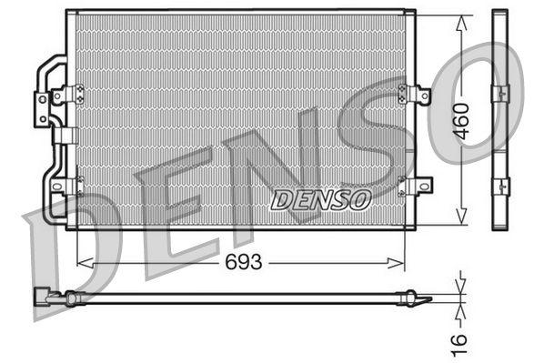 DENSO  DCN07040 Kondensator, Klimaanlage Netzmaße: 693x460x16, Kältemittel: R 134a