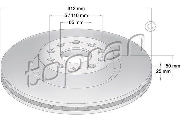 TOPRAN  110 073 Bremsscheibe Bremsscheibendicke: 25mm, Felge: 5-loch, Ø: 312mm
