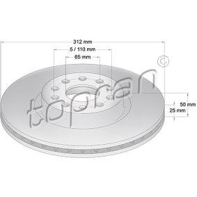 Bremsscheibe Bremsscheibendicke: 25mm, Felge: 5-loch, Ø: 312mm mit OEM-Nummer 1K0 615 301AA