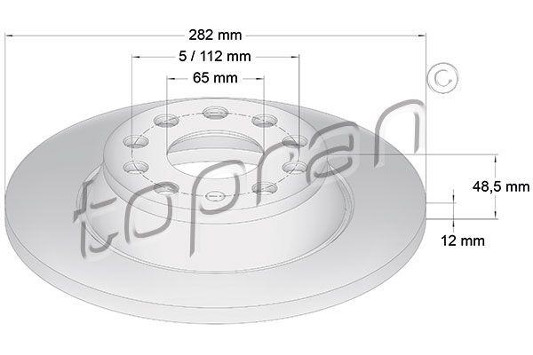 TOPRAN  115 893 Bremsscheibe Bremsscheibendicke: 12mm, Felge: 5-loch, Ø: 282mm