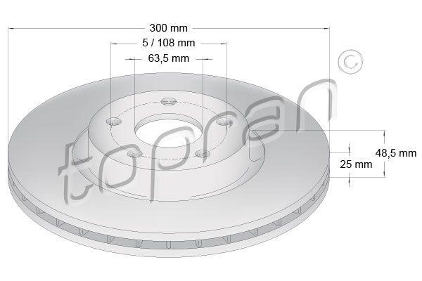 TOPRAN  302 342 Bremsscheibe Bremsscheibendicke: 25mm, Felge: 5-loch, Ø: 300mm