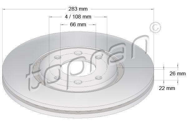 TOPRAN  720 245 Bremsscheibe Bremsscheibendicke: 22mm, Felge: 4-loch, Ø: 283mm