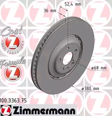 Bremsscheiben 100.3363.75 ZIMMERMANN 100.3363.75 in Original Qualität