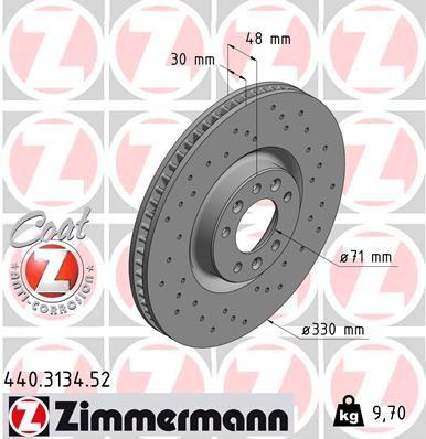 ZIMMERMANN SPORT COAT Z 440.3134.52 Bremsscheibe Bremsscheibendicke: 30mm, Felge: 5-loch, Ø: 330mm
