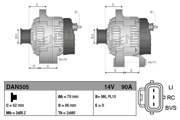 Generador DENSO DAN505 8717613019177