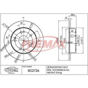 Bremsscheibe Bremsscheibendicke: 9mm, Ø: 260mm, Ø: 260mm mit OEM-Nummer 42510S87A00