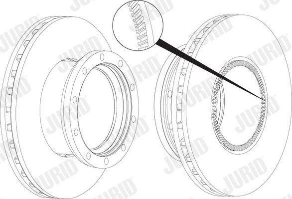 JURID  569155J Bremsscheibe Bremsscheibendicke: 45mm, Lochanzahl: 10, Ø: 434mm
