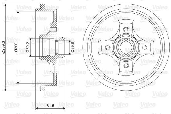 VALEO  237049 Bremstrommel Br.Tr.Durchmesser außen: 239,3mm