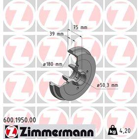 Bremstrommel Br.Tr.Durchmesser außen: 211mm, Felge: 4-loch mit OEM-Nummer 191 501 615 B