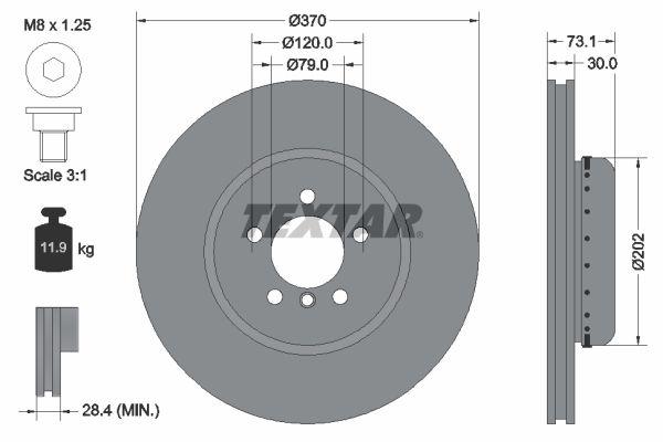 TEXTAR  92265325 Brake Disc Brake Disc Thickness: 30mm, Ø: 370mm