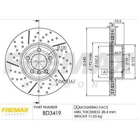 Brake Disc Brake Disc Thickness: 30mm, Ø: 340mm, Ø: 340mm with OEM Number 3411 6 797 602
