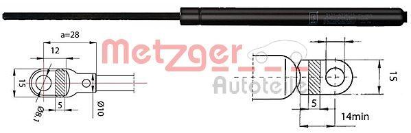 METZGER  2110283 Heckklappendämpfer / Gasfeder Länge: 365mm, Hub: 140mm, Länge: 365mm