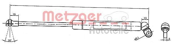METZGER  2110331 Heckklappendämpfer / Gasfeder Länge: 335mm, Hub: 95mm