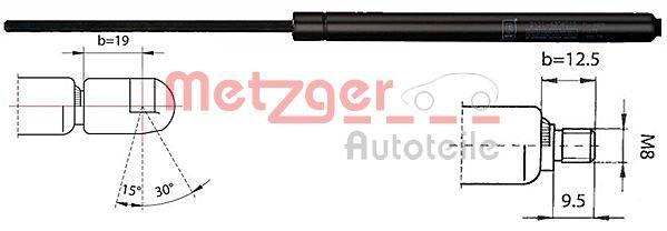 METZGER  2110343 Gasfeder, Heckscheibe Länge: 288mm, Hub: 95mm, Ausschubkraft: 250N