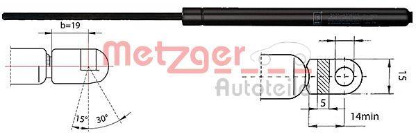 METZGER  2110368 Heckklappendämpfer / Gasfeder Länge: 640mm, Hub: 235mm
