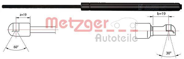 METZGER  2110418 Heckklappendämpfer / Gasfeder Länge: 625mm, Hub: 210mm