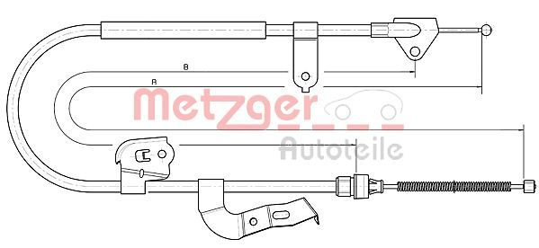 METZGER  10.4511 Cable, parking brake Length: 1487/1243mm