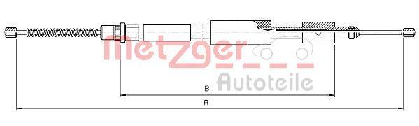 METZGER  10.4573 Cable, parking brake Length: 1493/1171mm