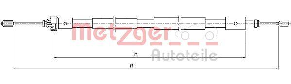 METZGER  10.4655 Cable, parking brake Length: 1865/1590mm