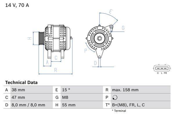 Lichtmaschine 0 986 083 510 BOSCH 8351 in Original Qualität
