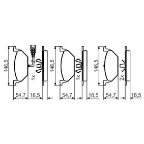 Комплект спирачно феродо, дискови спирачки 0 986 495 213 Golf 5 (1K1) 1.9 TDI Г.П. 2004