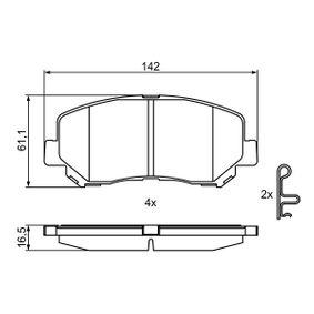 Bremsbelagsatz, Scheibenbremse Breite: 142mm, Höhe: 61,1mm, Dicke/Stärke: 16,5mm mit OEM-Nummer 25564 BOSCH