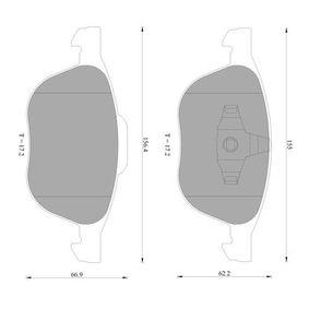 Bremsbelagsatz, Scheibenbremse Breite 1: 155mm, Breite 2: 155,4mm, Höhe 1: 60,6mm, Höhe 2: 65,2mm, Dicke/Stärke: 17,2mm mit OEM-Nummer 3M51 2K021 AA