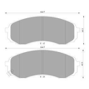 Bremsbelagsatz, Scheibenbremse Breite: 164,7mm, Höhe: 63,3mm, Dicke/Stärke: 17mm mit OEM-Nummer 58101-4HA10