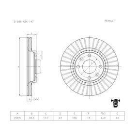 Bremsscheibe Bremsscheibendicke: 20,6mm, Lochanzahl: 4, Ø: 258,5mm mit OEM-Nummer 7701 205 653