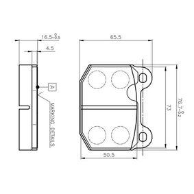 Bremsbelagsatz, Scheibenbremse Breite: 76,7mm, Höhe: 65,5mm, Dicke/Stärke: 16,5mm mit OEM-Nummer 16 05 317