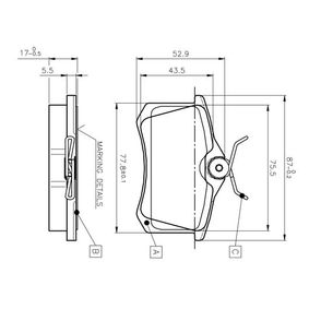 Bremsbelagsatz, Scheibenbremse Breite: 87mm, Höhe: 52,9mm, Dicke/Stärke: 17mm mit OEM-Nummer 1H0 615 415D