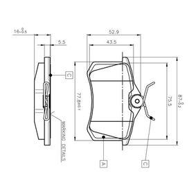 Bremsbelagsatz, Scheibenbremse Breite: 87mm, Höhe: 52,9mm, Dicke/Stärke: 16mm mit OEM-Nummer 191 615 415D