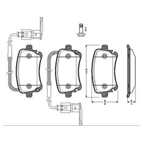 Bremsbelagsatz, Scheibenbremse Breite: 116,2mm, Höhe: 68,6mm, Dicke/Stärke: 17,5mm mit OEM-Nummer 3D0.698.451