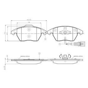 Bremsbelagsatz, Scheibenbremse Breite: 156,4mm, Höhe 1: 66mm, Höhe: 71,4mm, Dicke/Stärke: 20,3mm mit OEM-Nummer 3C0 698 151 A